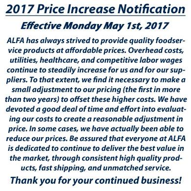 2017 ALFA Price Announcement